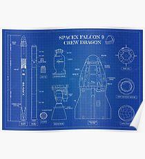 SPACEX FALCON 9 CREW DRAGON Blueprint Poster