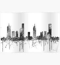Melbourne, Victoria Skyline - B&W Poster