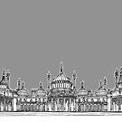 Brighton Royal Pavilion Facade ( Grey version ) by Adam Regester