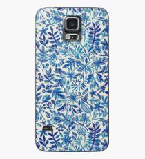 Schwimmender Garten - ein Aquarellmuster im Blau Hülle & Klebefolie für Samsung Galaxy