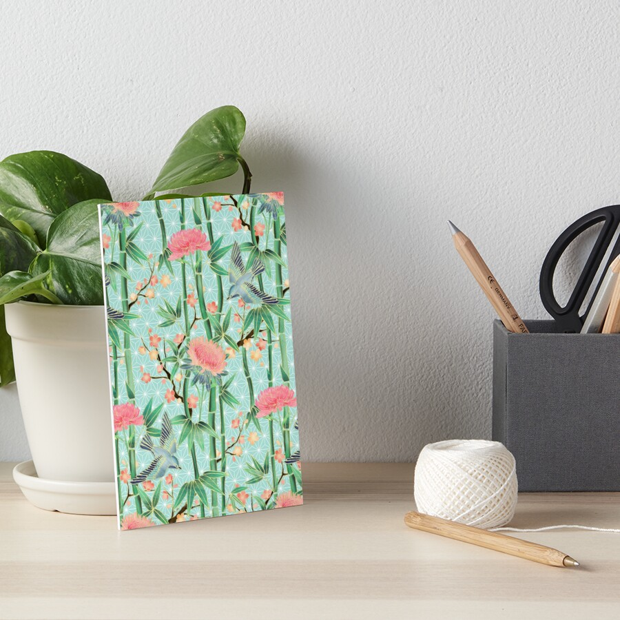 Bamboo, Birds and Blossom - soft blue green Art Board Print