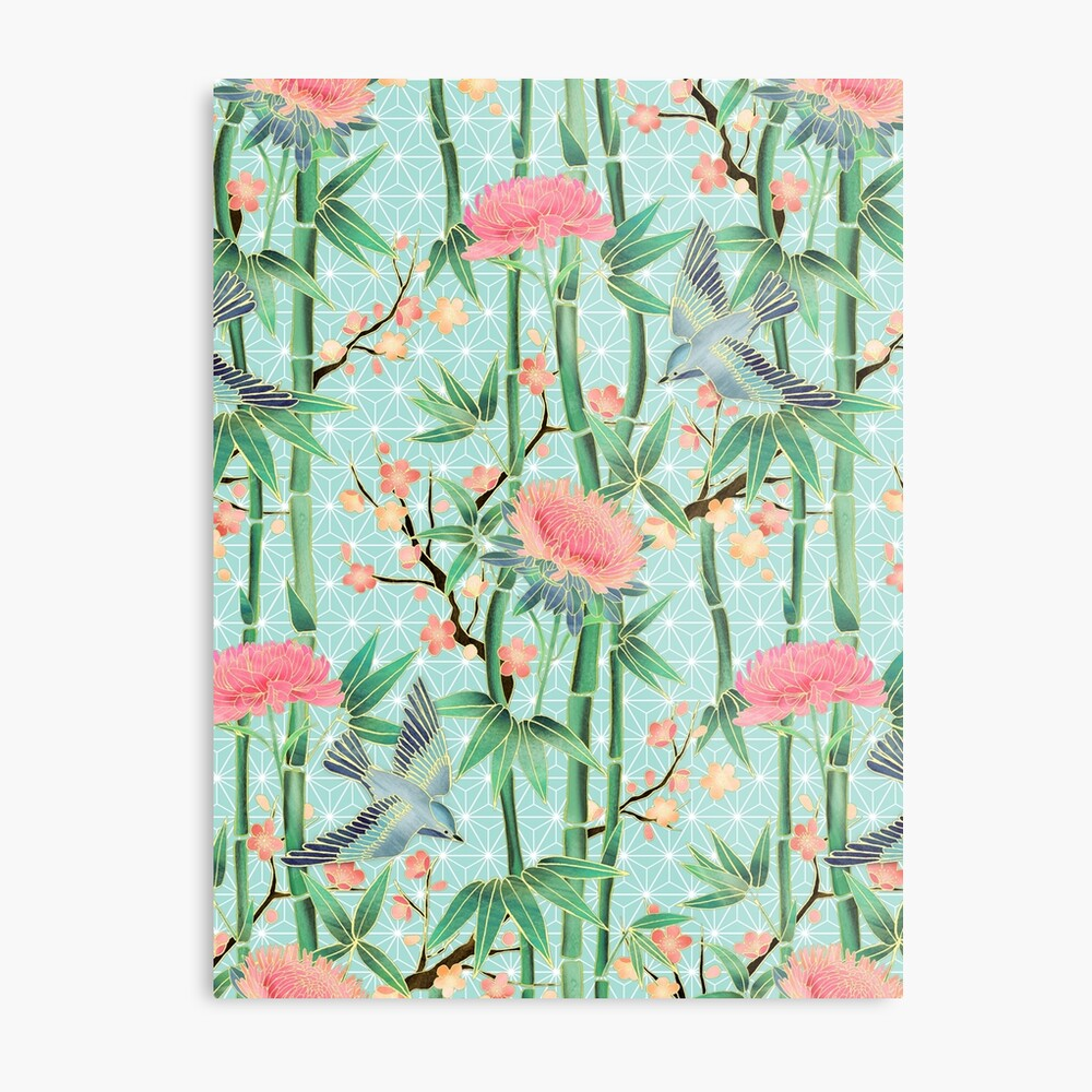 Bamboo, Birds and Blossom - soft blue green Metal Print