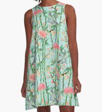 Bambus, Vögel und Blüten - weich blau grün A-Linien Kleid