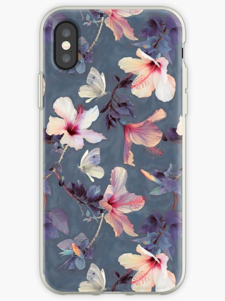 Schmetterlinge und Hibiskus-Blumen - ein gemaltes Muster von micklyn