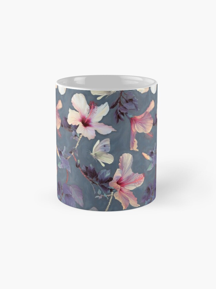 Alternate view of Butterflies and Hibiscus Flowers - a painted pattern Mugs