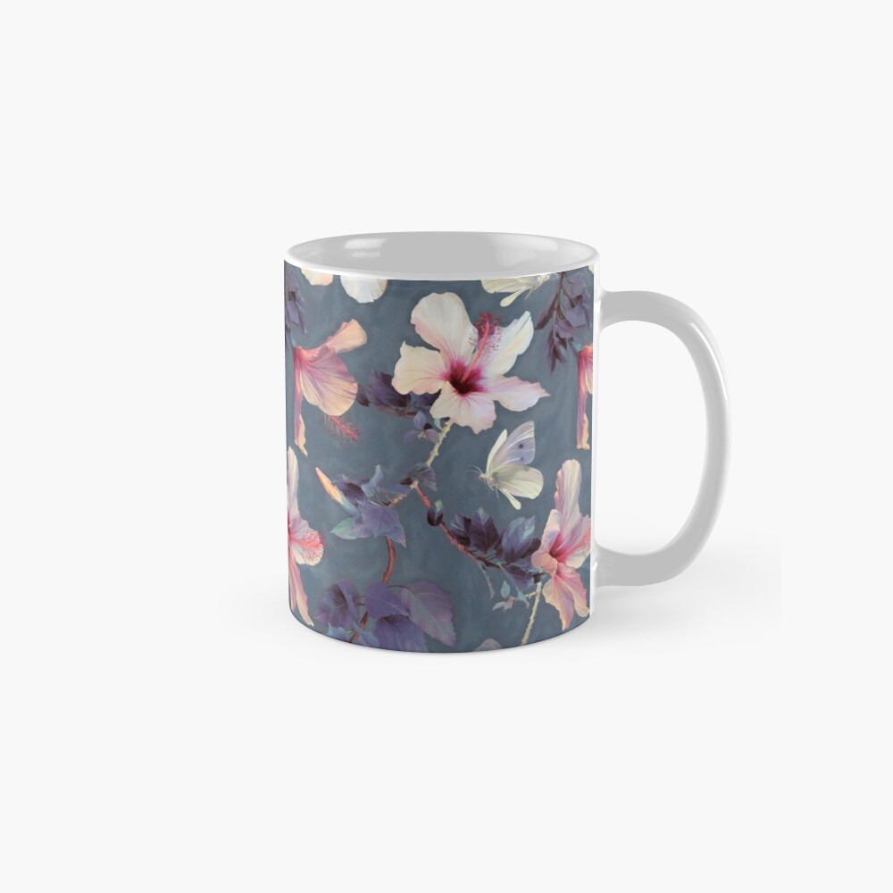 Butterflies and Hibiscus Flowers - a painted pattern Mugs
