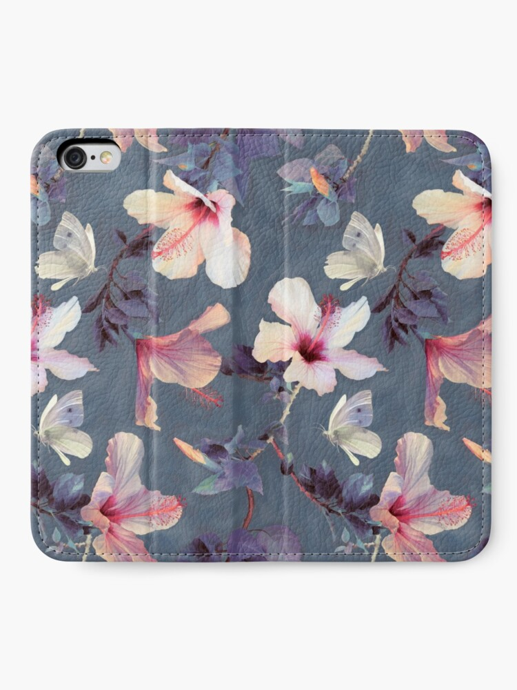 Alternate view of Butterflies and Hibiscus Flowers - a painted pattern iPhone Wallet
