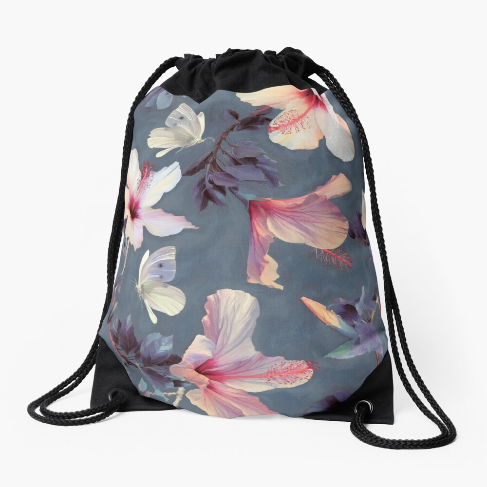 Butterflies and Hibiscus Flowers - a painted pattern Drawstring Bag
