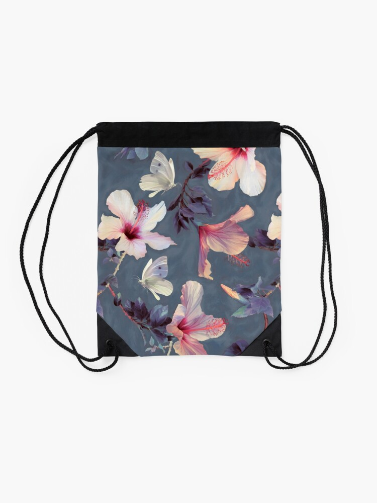 Alternate view of Butterflies and Hibiscus Flowers - a painted pattern Drawstring Bag