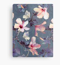 Schmetterlinge und Hibiskus-Blumen - ein gemaltes Muster Metallbild