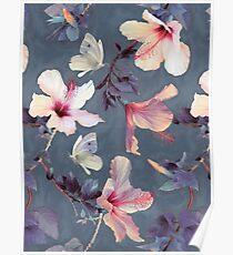Póster Mariposas y flores de hibisco - un patrón pintado