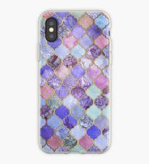 Königliches purpurrotes, malvenfarbenes u. Indigo-dekoratives marokkanisches Fliesen-Muster iPhone-Hülle & Cover