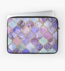 Königliches purpurrotes, malvenfarbenes u. Indigo-dekoratives marokkanisches Fliesen-Muster Laptoptasche