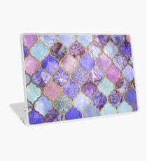 Königliches purpurrotes, malvenfarbenes u. Indigo-dekoratives marokkanisches Fliesen-Muster Laptop Folie