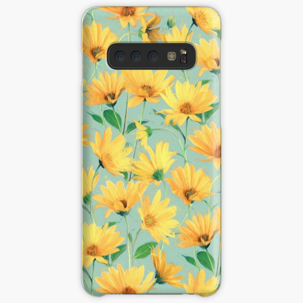 Painted Golden Yellow Daisies on soft sage green Case & Skin for Samsung Galaxy