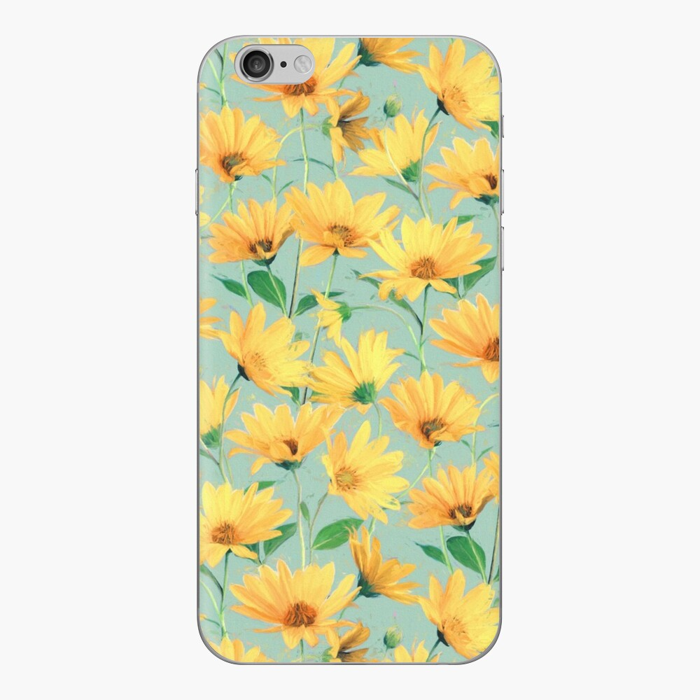 Painted Golden Yellow Daisies on soft sage green iPhone Skin