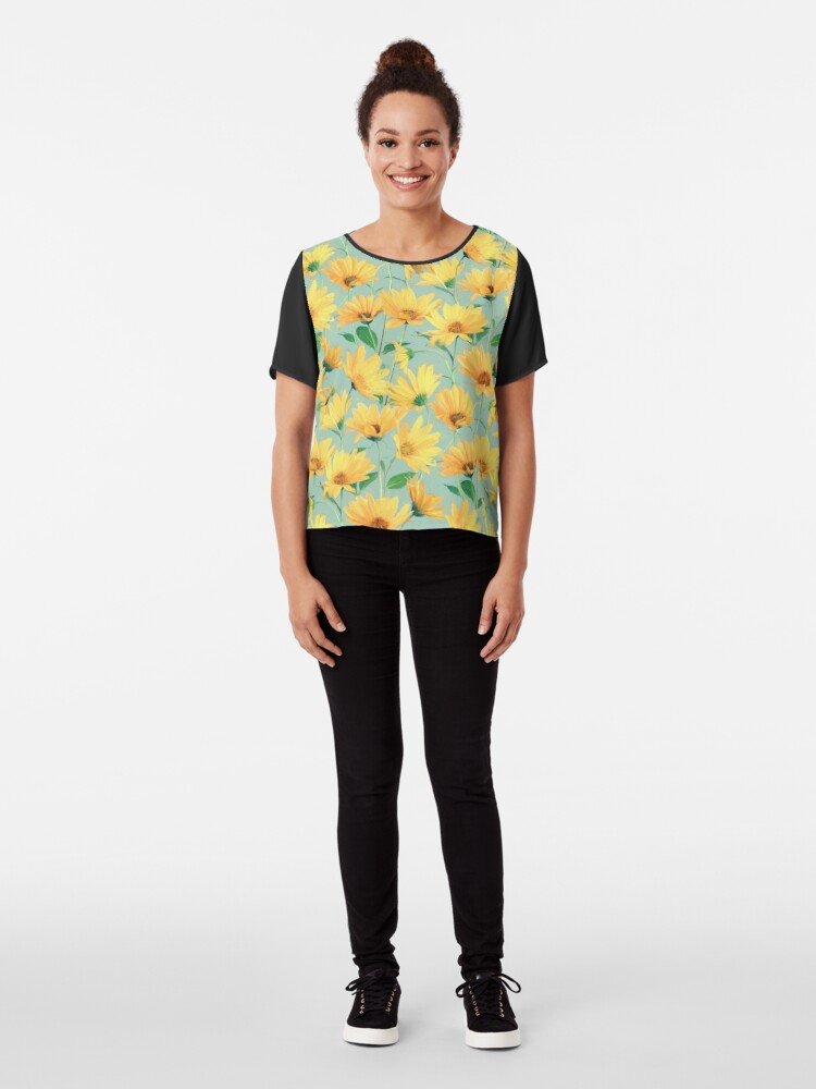 Alternate view of Painted Golden Yellow Daisies on soft sage green Chiffon Top
