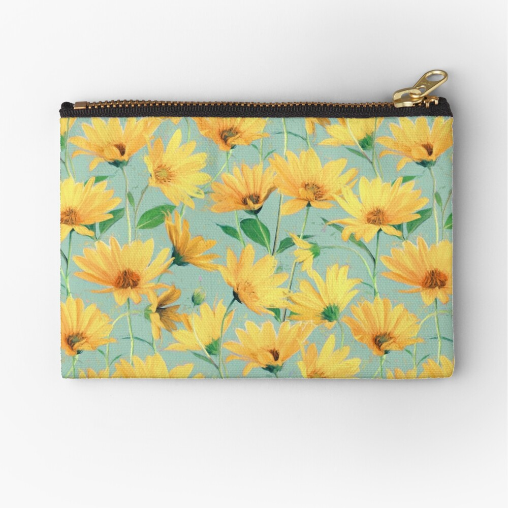 Painted Golden Yellow Daisies on soft sage green Zipper Pouch