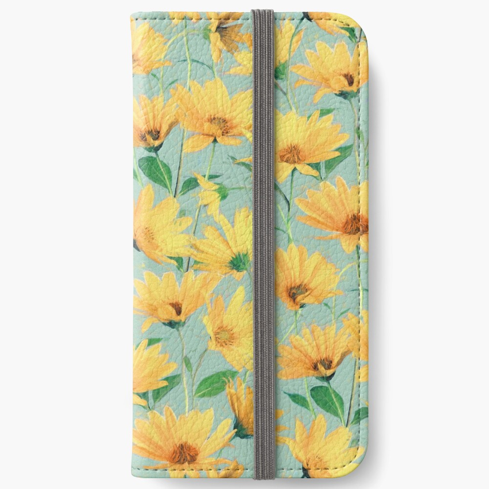 Painted Golden Yellow Daisies on soft sage green iPhone Wallet