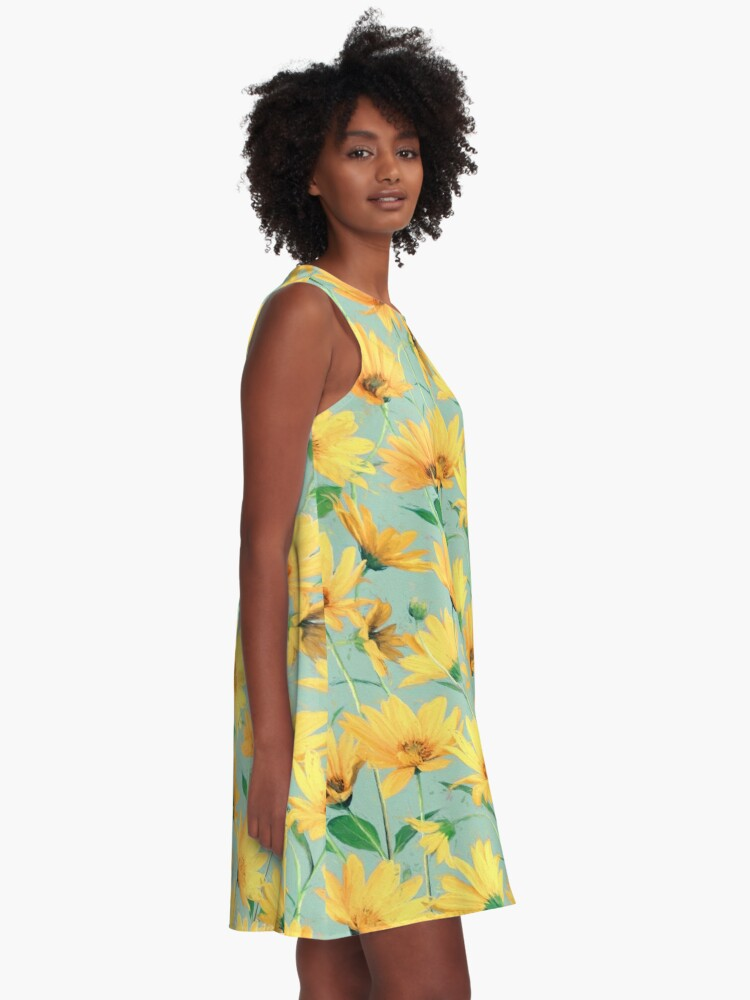 Alternate view of Painted Golden Yellow Daisies on soft sage green A-Line Dress