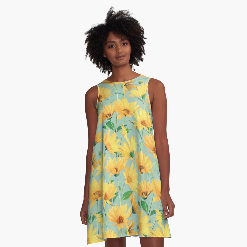 Painted Golden Yellow Daisies on soft sage green A-Line Dress