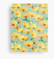 Painted Golden Yellow Daisies on soft sage green Metal Print