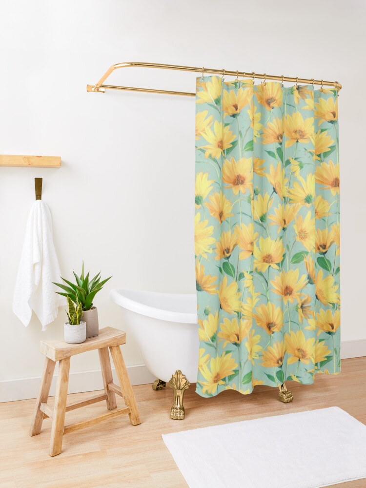 Alternate view of Painted Golden Yellow Daisies on soft sage green Shower Curtain