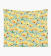 Painted Golden Yellow Daisies on soft sage green Tapestry