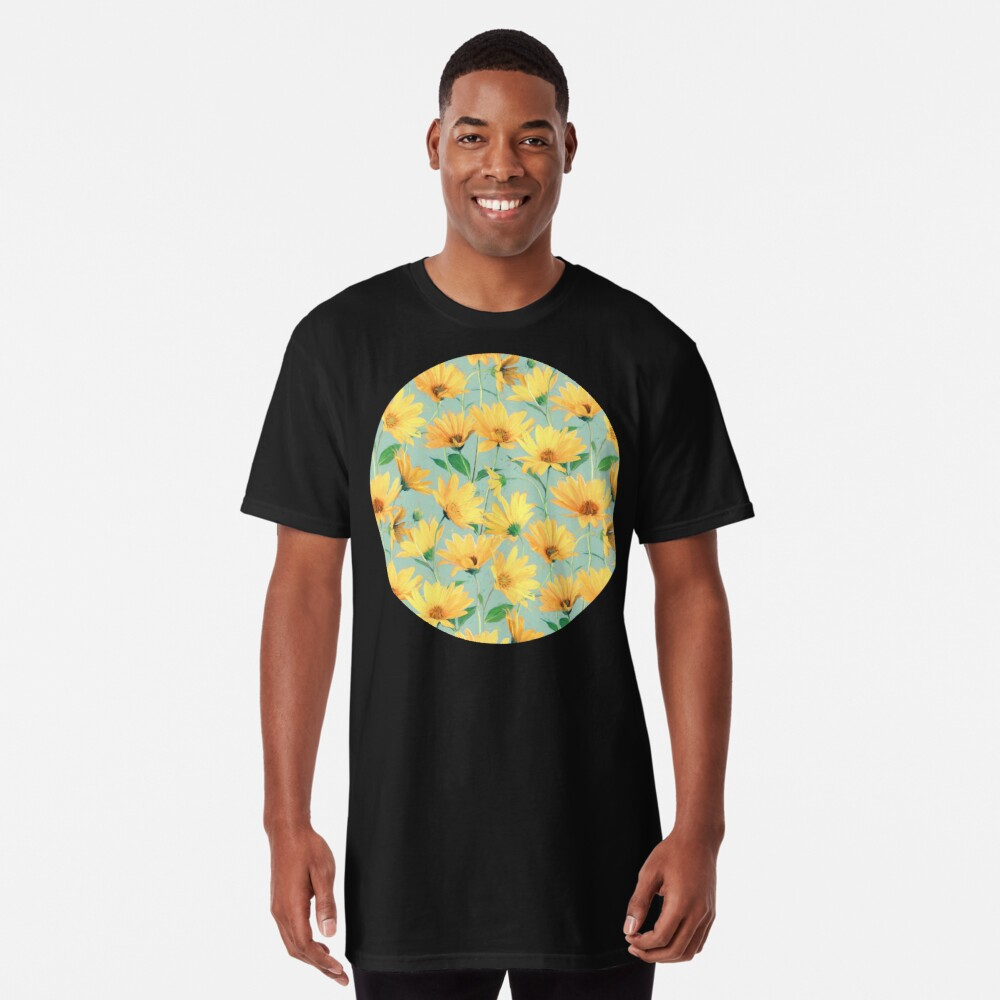 Painted Golden Yellow Daisies on soft sage green Long T-Shirt