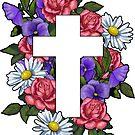 Christian Cross mit Blumen, Kunst, religiös von Joyce Geleynse