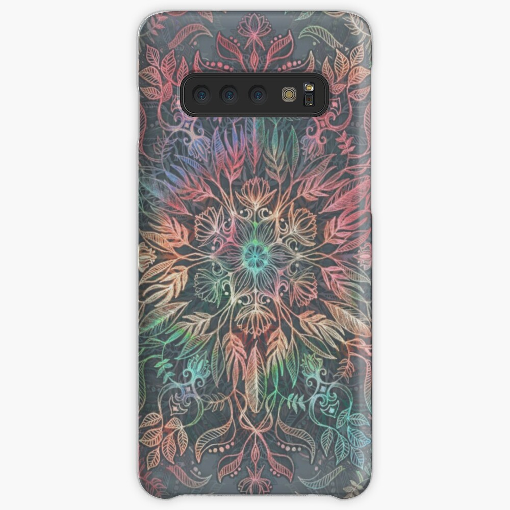 Winter Sunset Mandala in Charcoal, Mint and Melon Case & Skin for Samsung Galaxy