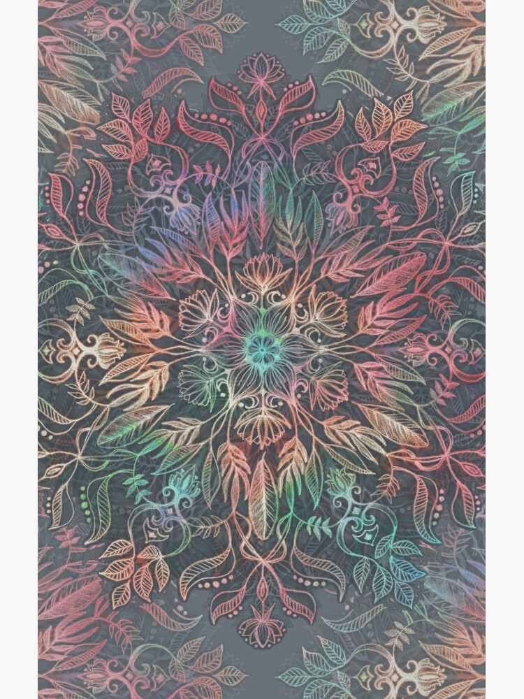 Winter Sunset Mandala in Charcoal, Mint and Melon by micklyn