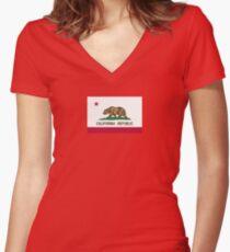 California USA State Flag Bedspread Duvet T-Shirt - Californian Sticker Women's Fitted V-Neck T-Shirt