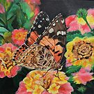 Butterfly and Flowers Acrylic Painting by Alannis Turner