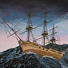 Painting of Ship in Storm by Alannis Turner
