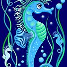 Seahorse cute blue sea animal Vector Seamless Pattern Textile Design by BluedarkArt
