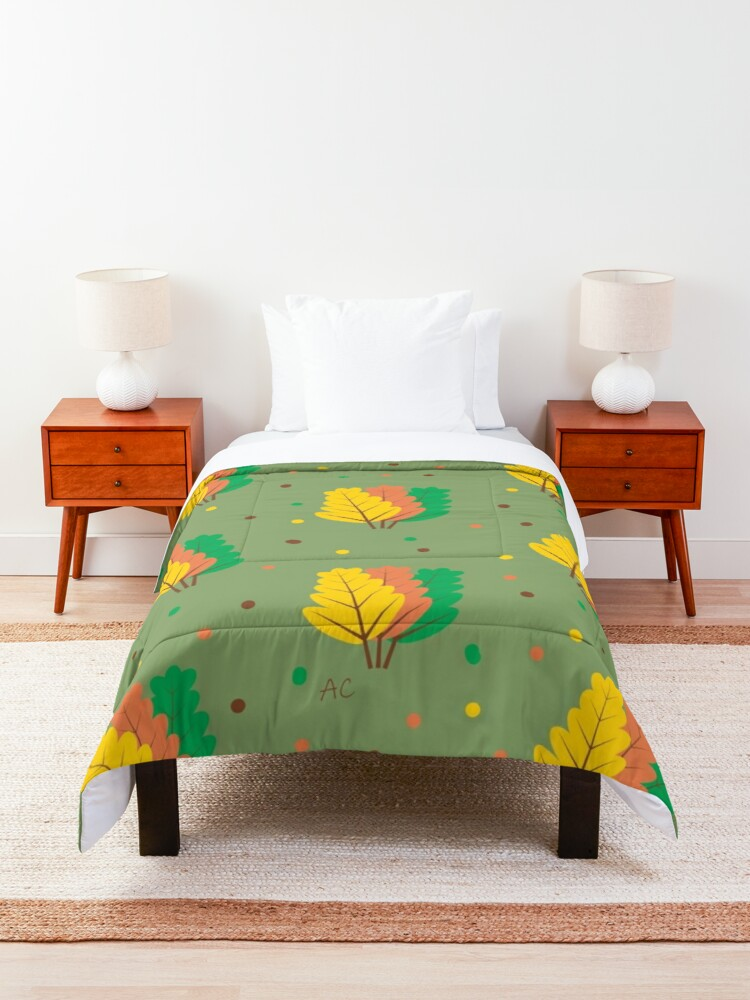 Alternate view of Autumn : Three Fallen Leaves Comforter