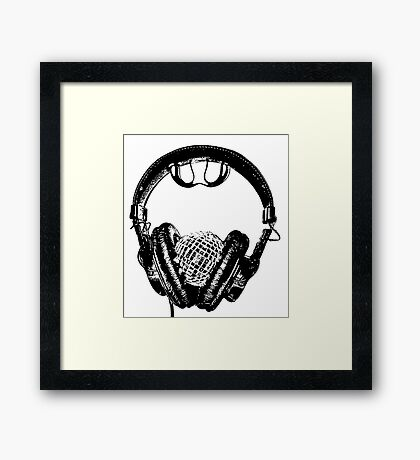 """mirrorball headphones in black & white"" Framed Print"