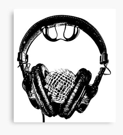"""mirrorball headphones in black & white"" Canvas Print"