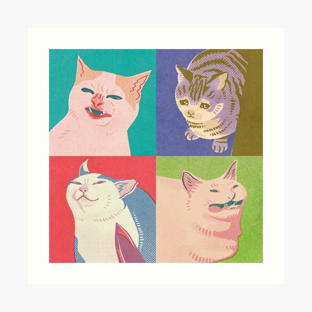 Four Meme Cats of the Apocalypse Art Print
