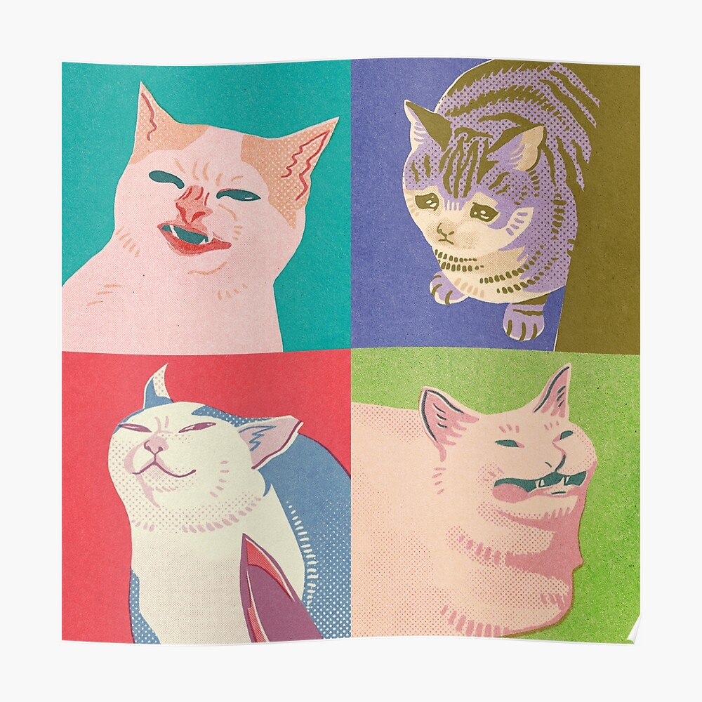 Four Meme Cats of the Apocalypse Poster
