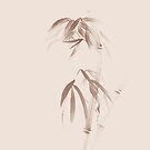 Zen sumi-e ink painting of bamboo stalks with bushy leaves in beige colors art print by AwenArtPrints