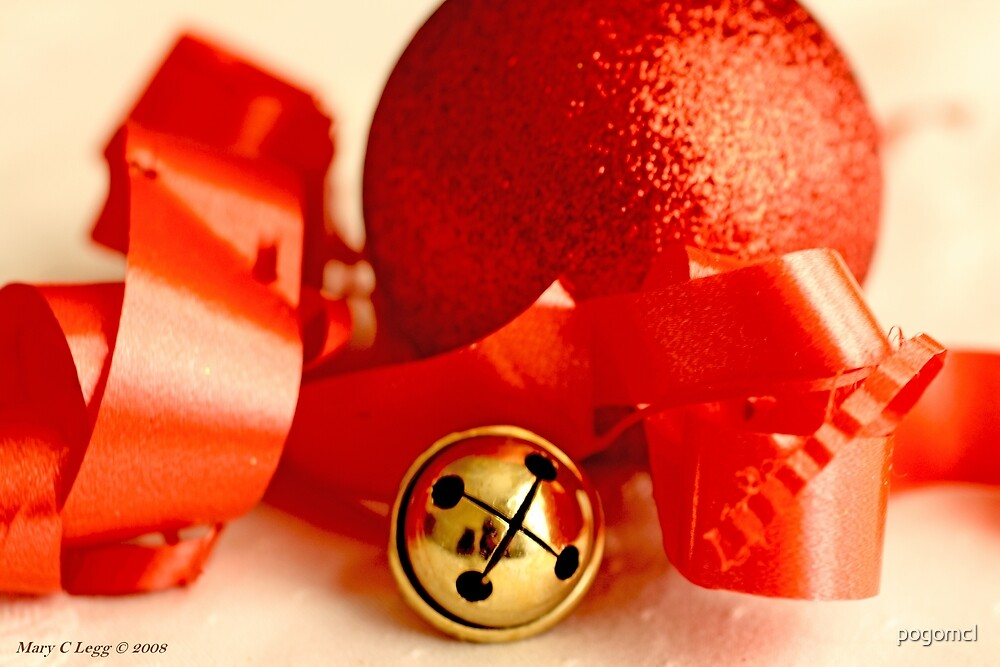 Red Christmas ball with small jingle bell and red ribbon by pogomcl