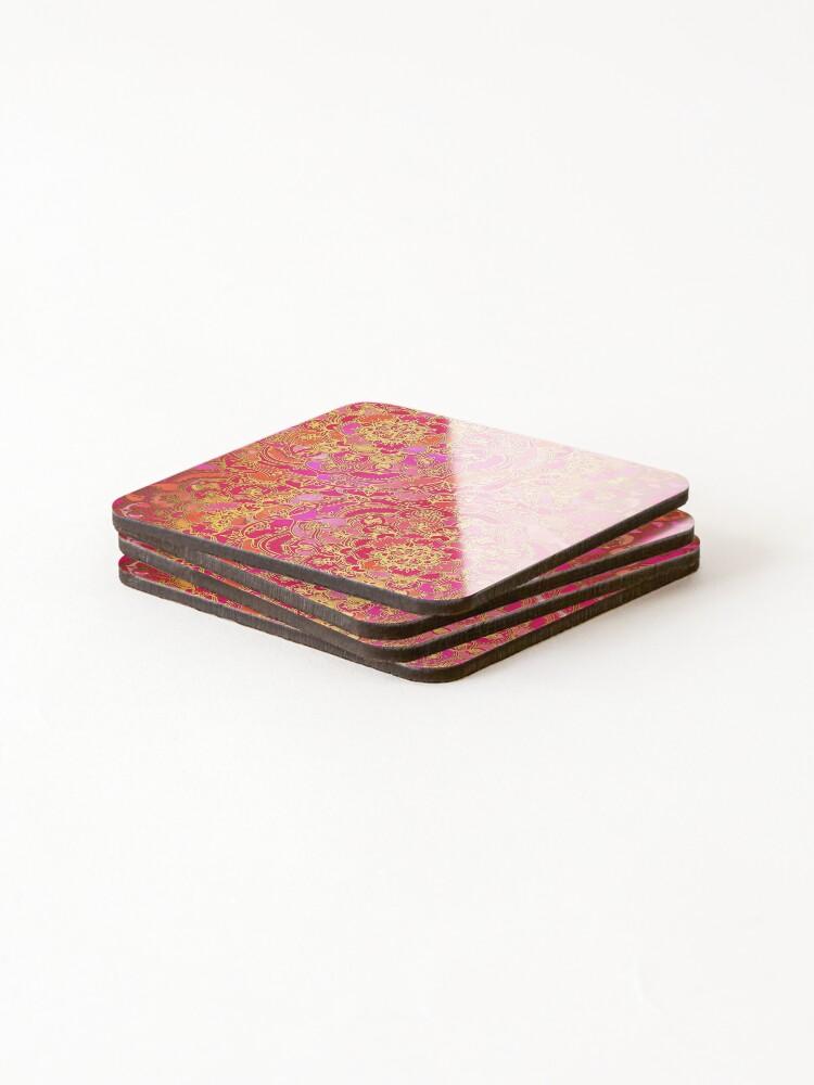 Alternative Ansicht von Pink und Gold Barock Blumenmuster Untersetzer (4er Set)
