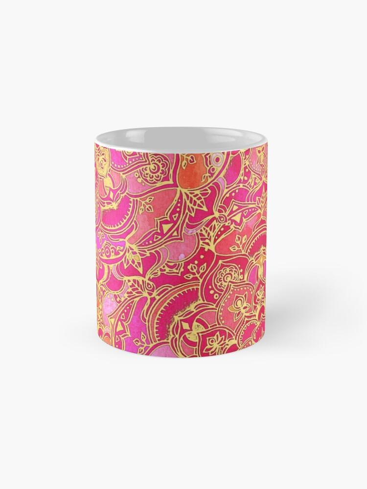 Alternative Ansicht von Pink und Gold Barock Blumenmuster Tasse