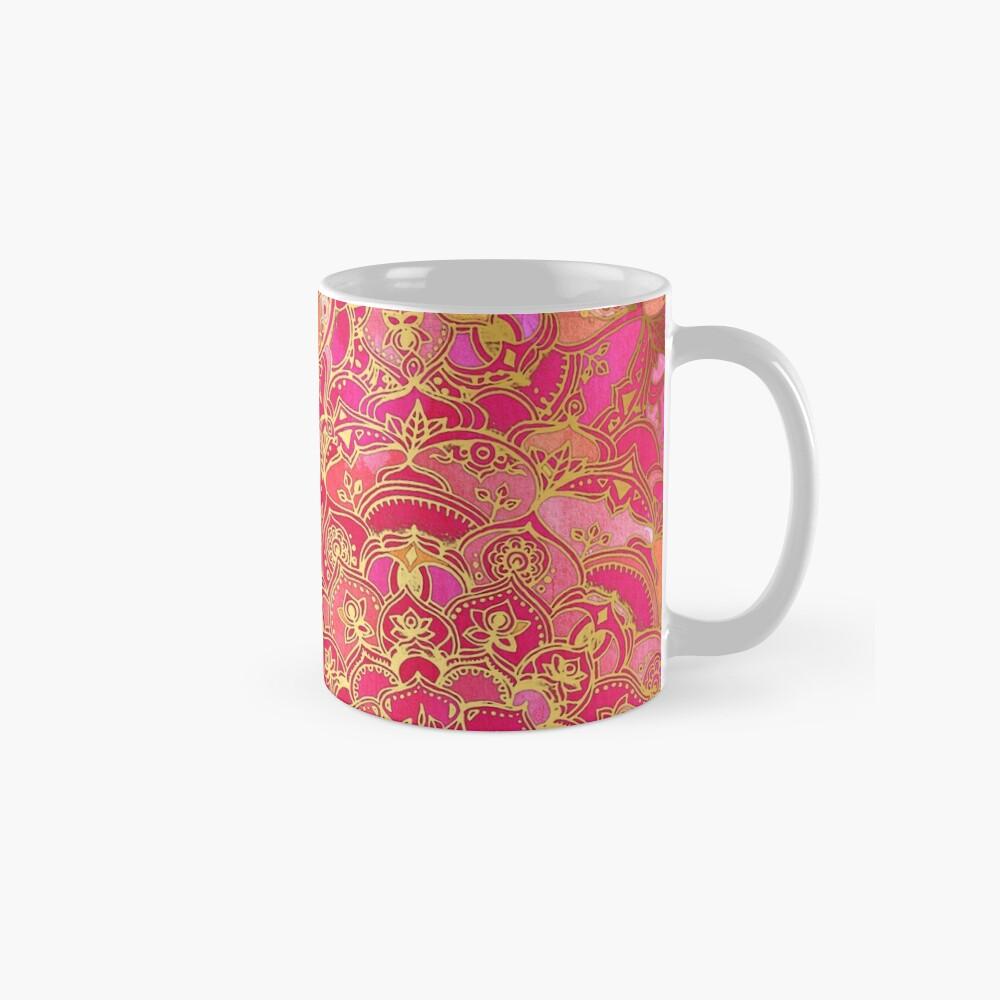 Pink und Gold Barock Blumenmuster Tasse