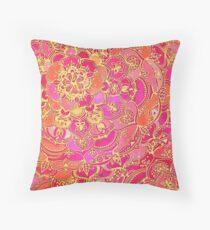 Pink und Gold Barock Blumenmuster Dekokissen