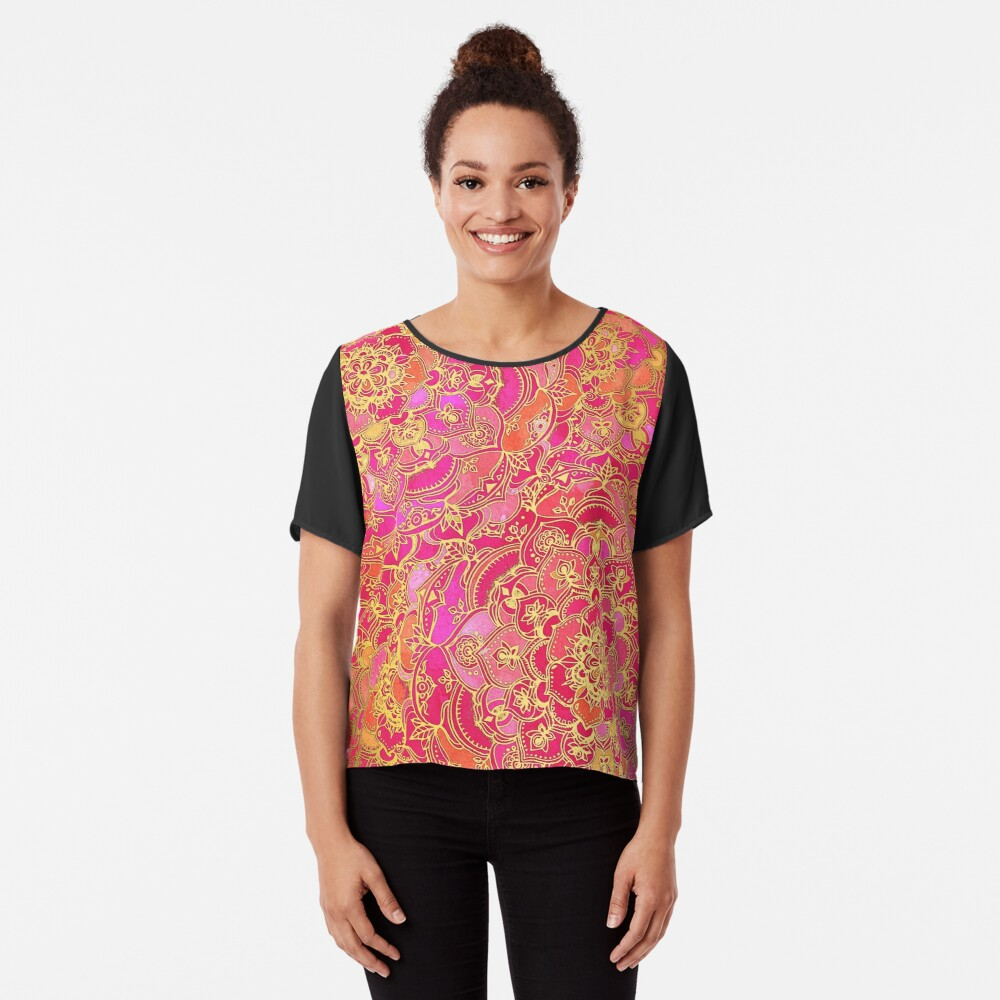 Pink und Gold Barock Blumenmuster Chiffon Top