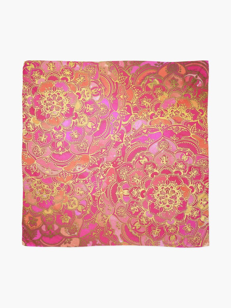 Alternate view of Hot Pink and Gold Baroque Floral Pattern Scarf