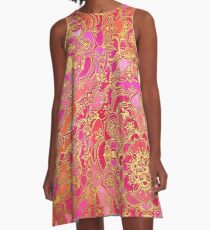 Hot Pink and Gold Baroque Floral Pattern A-Line Dress